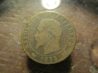 1855 French 10 Centimes Xf Coin In Antique Bronze Km 776 photo