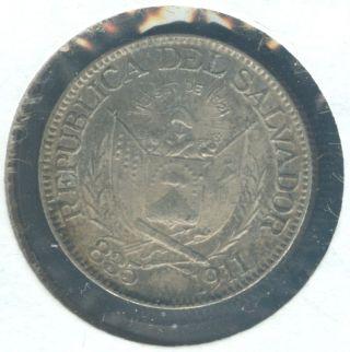 Natural Appearance 1911 Silver El Salvador 10 Centavos photo