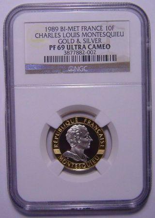 France 10 Francs 1989 Gold And Palladium Bi - Metal Ngc Pf69uc Montesquieu photo