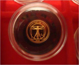Mongolia 2006 500 Togrog Proof Leonardo Da Vinci 0.  9999 Gold Very Rare photo