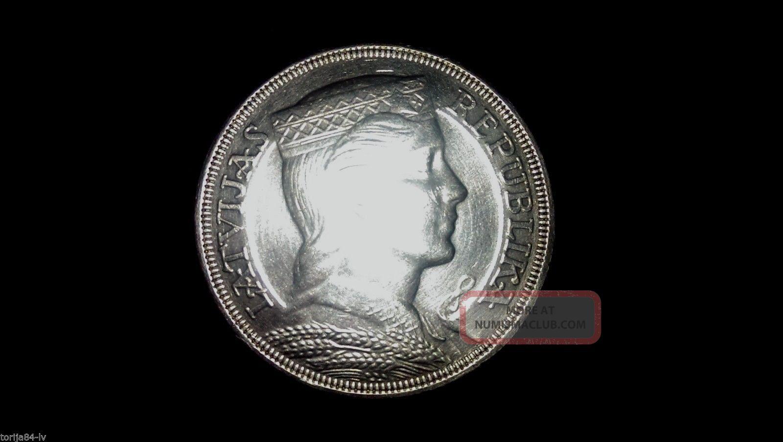 1931 - Silver 5 Lats,  Ms Very Rare Latvian Silver Coin Europe photo