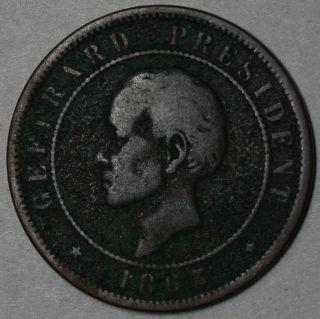 1863 Haiti 20 Centimes One Year Type Heaton Coin photo