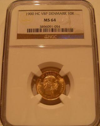 Denmark 1900 Vbp Gold 10 Kroner Ngc Ms - 64 photo