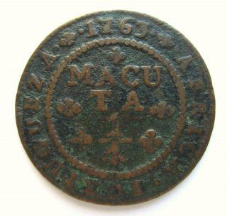 Portugal,  Angola - 1/4 Macuta 1763,  Joseph I (1750 - 1770) - Coin photo