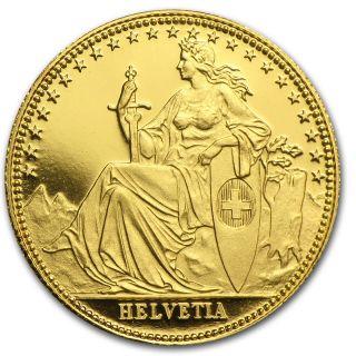Switzerland 1/10 Oz Gold Coin - Helvetia - Random Year - Sku 50485 photo