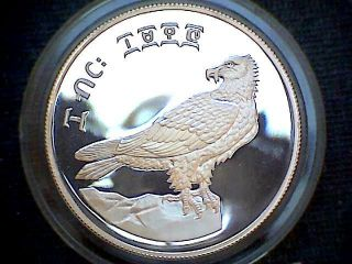 Ethiopia 1970 10 Birr,  Conservation,  Bearded Vulture,  Silver Proof Capsule photo