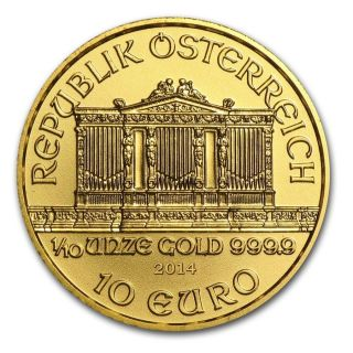 2014 Austria Philharmonic 1/10 Ounce Pure.  999 Gold Gem Coin $9.  99 photo