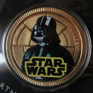 2011 Star Wars Collectible Coin - Darth Vader - Gold Plated Base Metal Coin photo