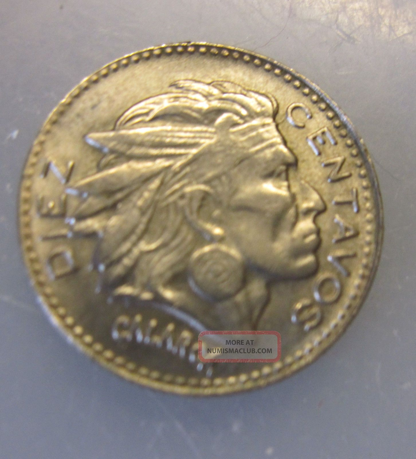 1964 Colombia 10 Centavos Coin Chief Calarca Pijaos