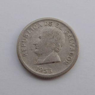 1953 El Salvador 25 Centavos Silver Coin Jose M.  Delgado Central America Km 137 photo