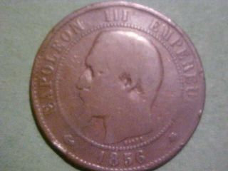 Coin Of The World 1856 Bb France Ten Centimes Km - 17.  3 Second Empire Napoleon 3 photo