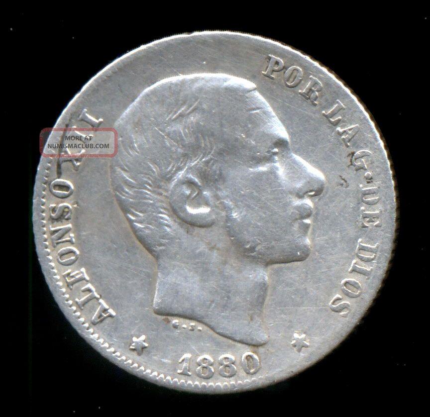 451 - Indalo - Spain.  Philippines.  Silver 20 Centavos 1880.  Very Rare Europe photo