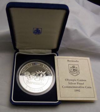 1992 5 Oz.  999 Fine Silver Proof Bermuda $5 Coin Box & The Olympics Rare photo