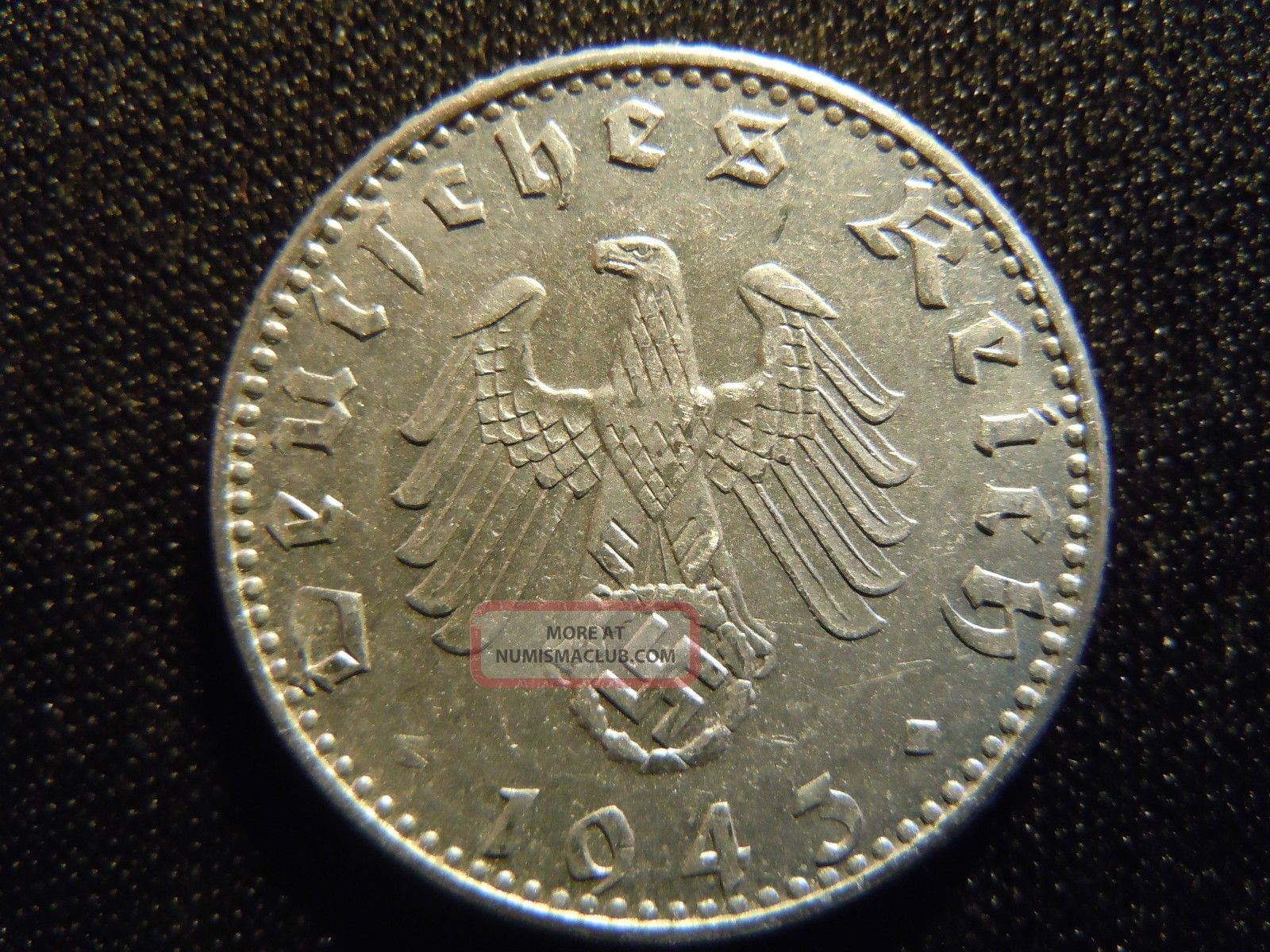 1943 German Ww2 50 Reichspfennig Germany Nazi Coin Swastika World Ab 344 Cent