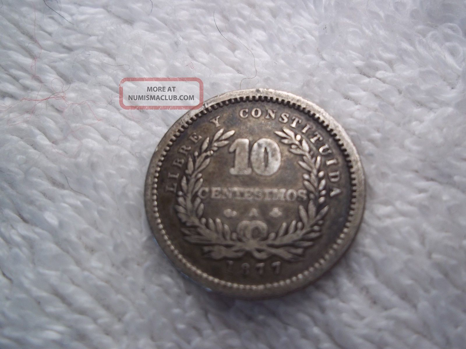 Old World Silver Coin Uruguay 1877 10 Centesimos South America photo