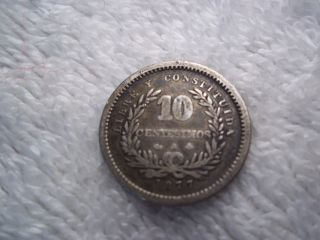 Old World Silver Coin Uruguay 1877 10 Centesimos photo
