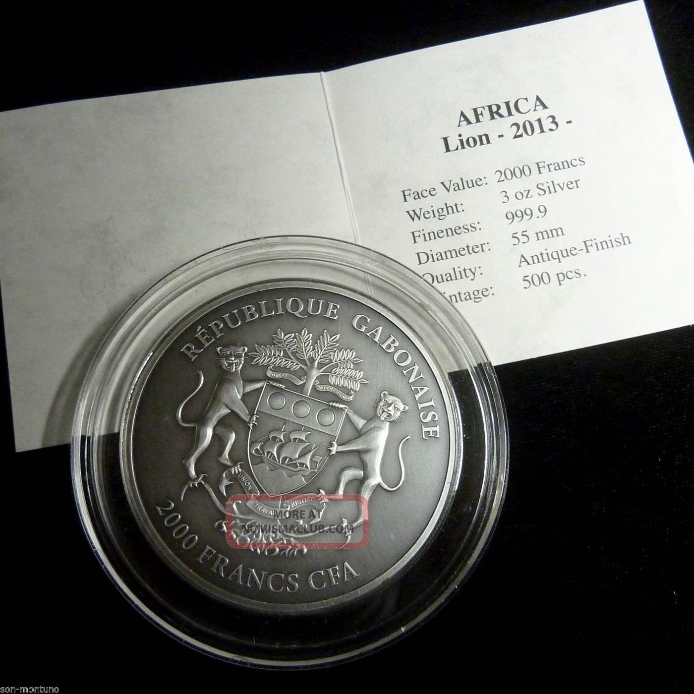 BABY ELEPHANTS 3 Silver Ounces Gabon 2000 Francs Antique Finish 3 Oz Coin 2013
