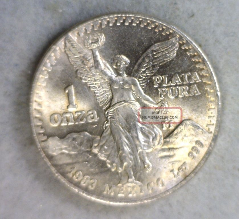 Mexico Onza 1983 Bu 1 Oz Silver Coin Stock 0943