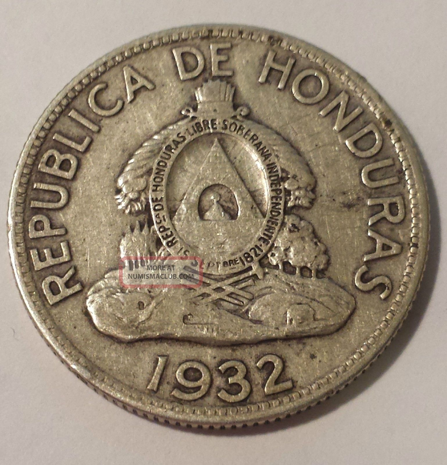 1932 Un Lempira Republica De Honduras 0 900 Silver Coin