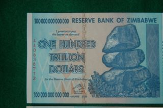 100 Trillion Zimbabwe Currency 2008 Aa Series Note photo