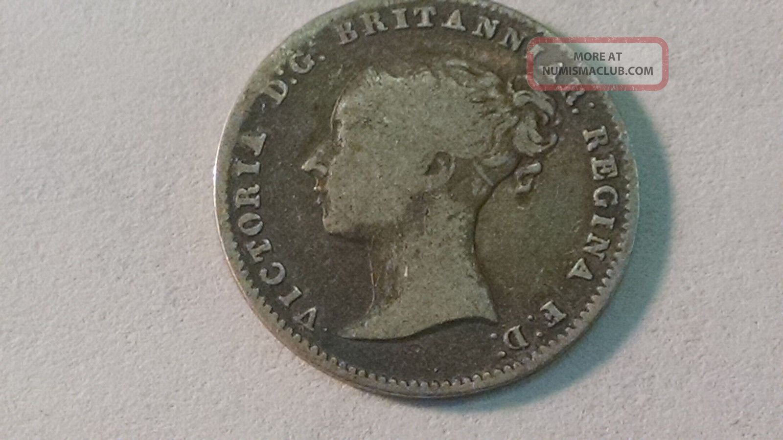 1856 Circulated Queen Victoria Silver 3 Pence UK (Great Britain) photo