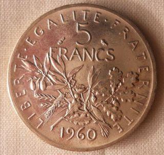 1960 France 5 Francs - Au Vintage Silver Coin - photo
