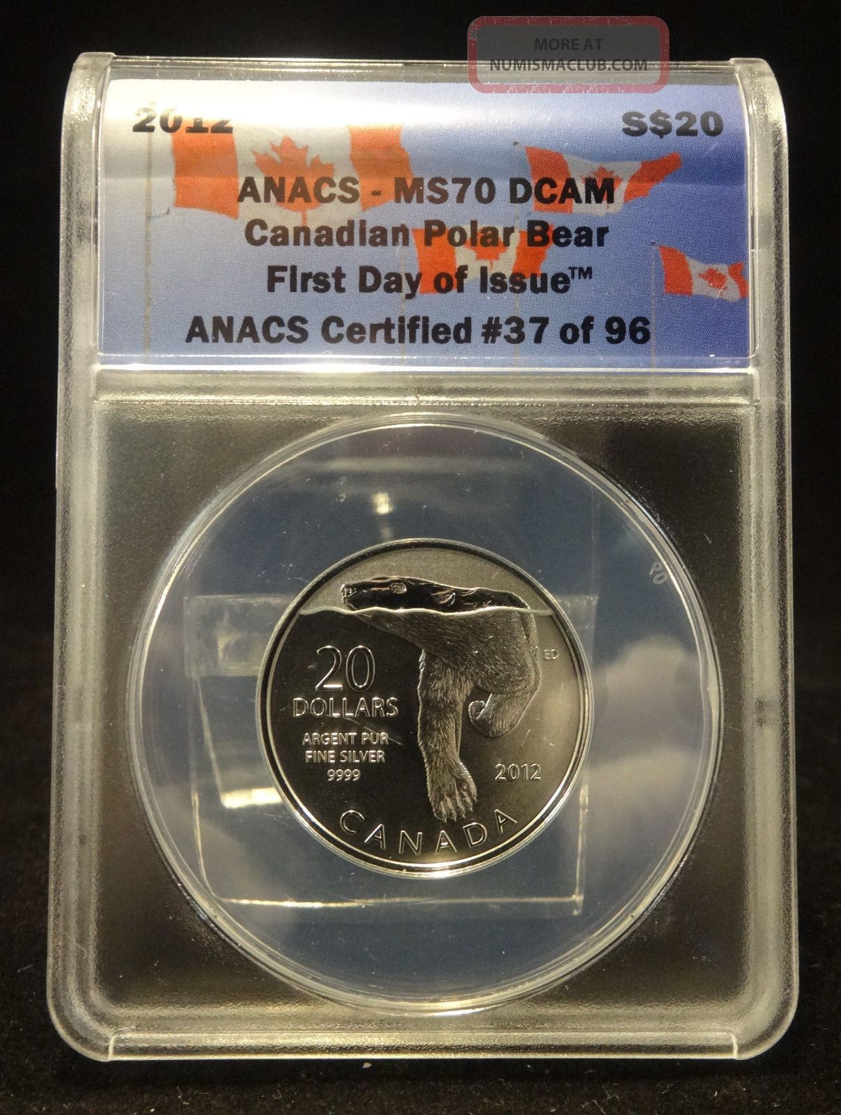 2012 S$20 Ms70 Dcam Canadian Polar Bear First Day Of Issue Anacs 37 Of 96 Coins: World photo