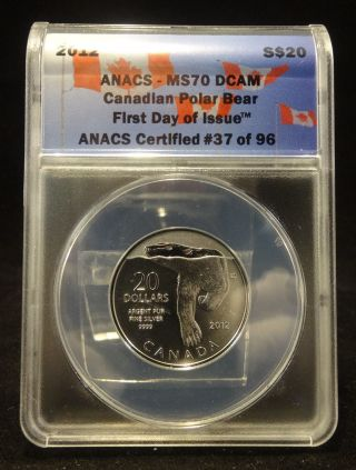 2012 S$20 Ms70 Dcam Canadian Polar Bear First Day Of Issue Anacs 37 Of 96 photo