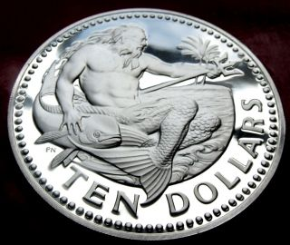 Rare Frosty Mirror Proof 1973 Barbados 925 $10 Silver Dollars Mintage 97k,  35g photo