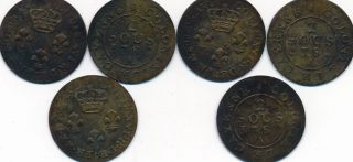 French Colonies Of Cayenne 1782a - 2 Sous Bnrass,  All Vf,  But Weak 2 In Dates - L@@k photo