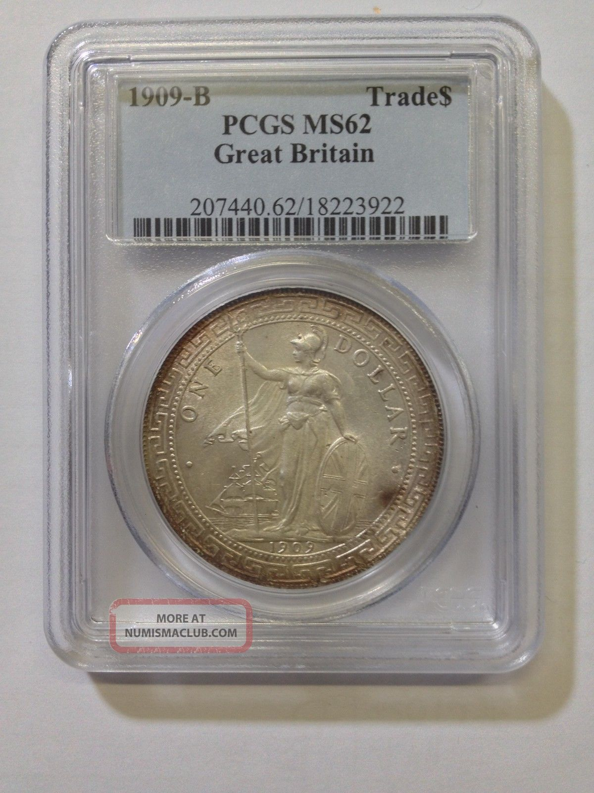 Pcgs Ms 62 1909 Great Britain Trade Dollar Silver