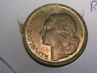 Key Date 1954 Ten 10 Franc Coin.  France. photo
