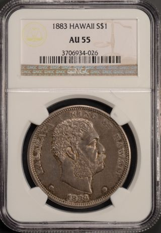 1883 Hawaii $1 Ngc Au55 Kingdom Of Hawaii Silver Dollar photo