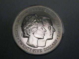 Bu 1972 Cayman Island Silver $25 Coin.  Royal Silver Wedding Anniversary 1947 - 72 photo