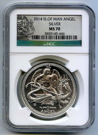 2014 Isle Of Man Angel 1 Oz.  999 Silver Ngc Ms 70 photo