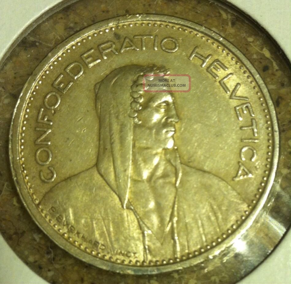 Switzerland 5 Francs 1939 B Silver Coin Swiss Helvetica Europe photo