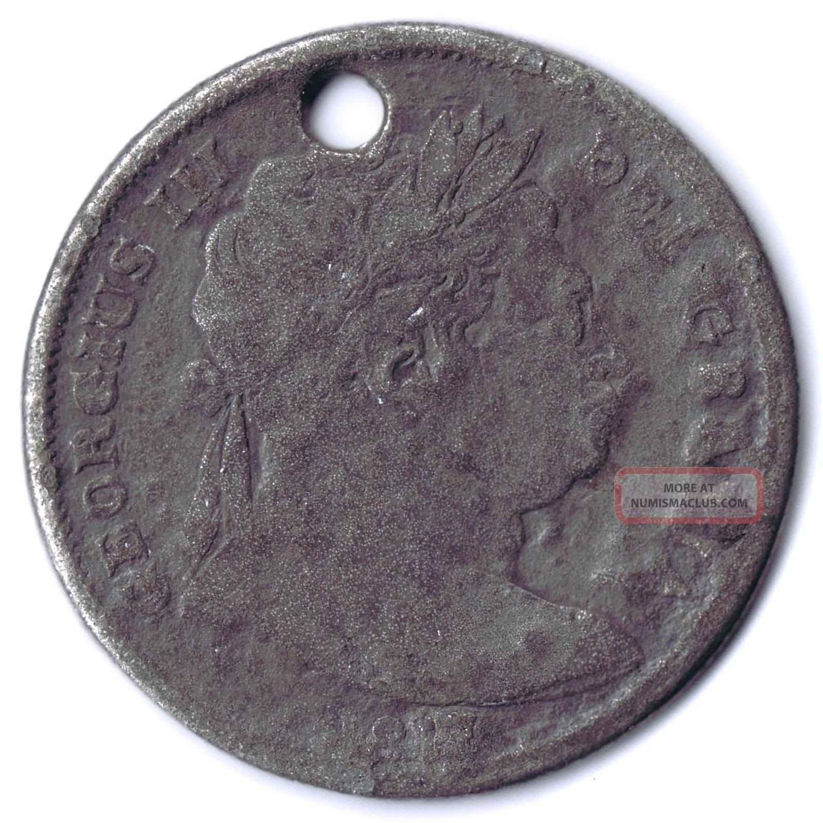 Great Britain George Iii Non - Regal Tin Half Crown 1817 Cast Token UK (Great Britain) photo