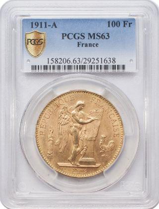 1911 - A 100 Francs Gold - France,  Angel/genius Pcgs Ms63 photo