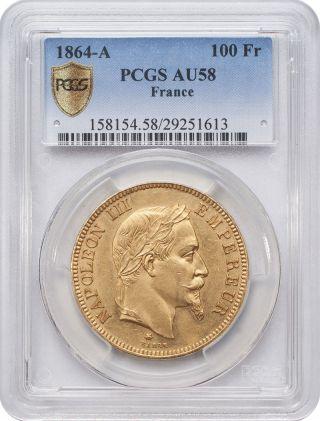 1864 - A 100 Francs Gold - Napoleon,  France Laureate Head Pcgs Au58 photo