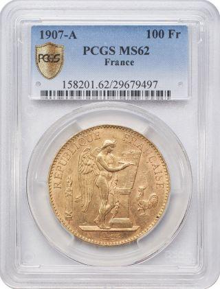 1907 - A 100 Francs Gold - France,  Angel/genius Pcgs Ms62 photo