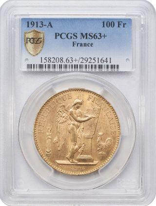 1913 - A 100 Francs Gold - France,  Angel/genius Pcgs Ms63, photo