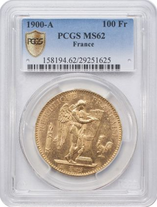 1900 - A 100 Francs Gold - France,  Angel/genius Pcgs Ms62 photo