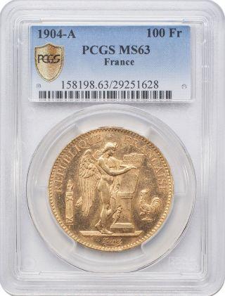 1904 - A 100 Francs Gold - France,  Angel/genius Pcgs Ms63 photo