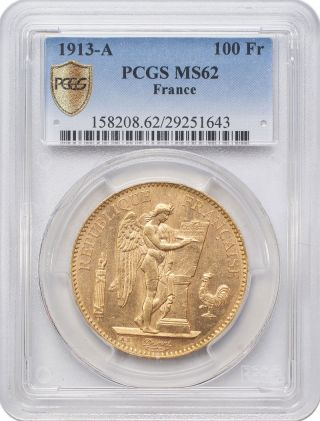 1913 - A 100 Francs Gold - France,  Angel/genius Pcgs Ms62 photo