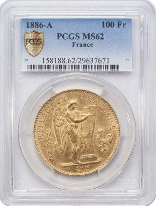 1886 - A 100 Francs Gold - France,  Angel/genius Pcgs Ms62 photo