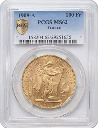 1909 - A 100 Francs Gold - France,  Angel/genius Pcgs Ms62 photo