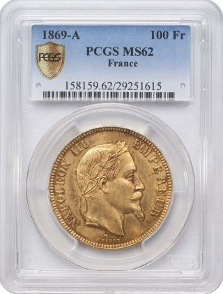 1869 - A 100 Francs Gold - Napoleon,  France,  Laureate Head Pcgs Ms62 photo
