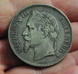 1868 France 5 Francs Silver Coin photo