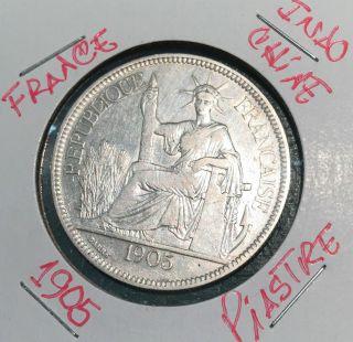 L@@k Republic Fracaise - Indochine Coin Silver 1905 Piastre Crown Pretty Rare photo