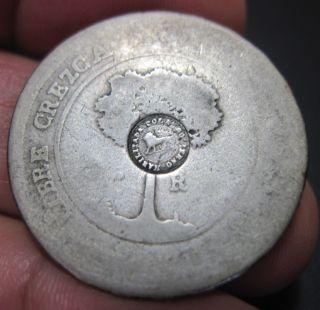 1849 (costa Rica) 2 Reales (silver) W/ Countermark Lion - - - Very Rare - - - - photo